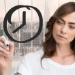 Business person drawing black clock — Stock Photo #53897583