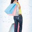 Beautiful woman student with shopping bags — Stock Photo #53898421
