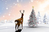 Composite image of christmas tree and reindeer — Stockfoto