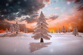 Złożony obraz śnieżny krajobraz — Zdjęcie stockowe