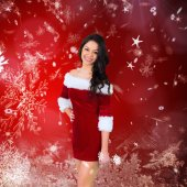 Pretty girl smiling in santa outfit — Photo