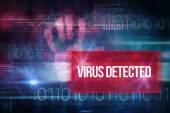 Virus detected against blue technology design — Stock Photo