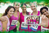 Female participants of breast cancer marathon — Stockfoto