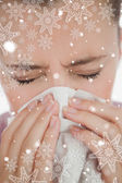 Composite image of woman blowing her nose — Foto Stock
