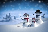 Composite image of digitally generated white snow family — Stock Photo