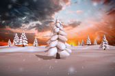 Composite image of snowy landscape — Stock Photo