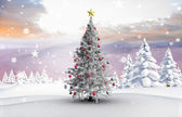Christmas tree with baubles and star — Stockfoto