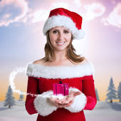 Pretty girl in santa outfit — Stock fotografie