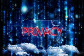 Word privacy and mature businessman — Stock Photo
