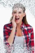 Composite image of portrait of a woman telling a secret — Stock Photo