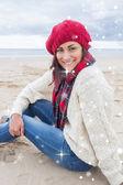 Smiling woman in stylish warm clothing — Stock Photo