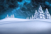 Imagen compuesta de blanco paisaje nevado con los abetos — Foto de Stock