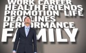 Businessman standing with text — Stock Photo