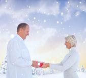 Couple exchanging gift — Stock Photo