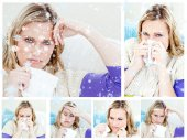 Composite image of collage of a young sick woman  — ストック写真