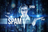 Word spam and businesswoman holding hand out — Stok fotoğraf