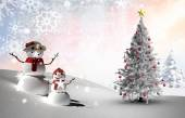 Composite image of christmas tree and snowmen — Foto Stock