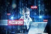 Word password and redhead businesswoman — Foto de Stock