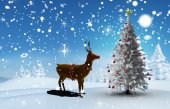 Composite image of christmas tree and reindeer — Foto de Stock