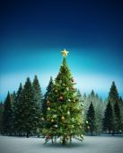 Composite image of christmas tree — Stock Photo