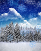 Composite image of snowflakes falling — Stock Photo
