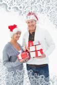 Slavnostní zralý pár v zimní oblečení — Stock fotografie