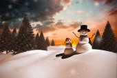 Composite image of snow family — Stock Photo