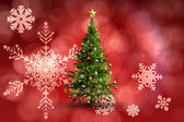 Composite image of christmas tree on white background — Stock Photo