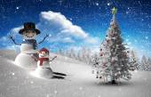 Composite image of christmas tree and snowman — Stockfoto