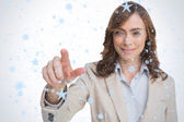 Businesswoman pointing her finger at camera — Stock Photo