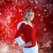 σύνθετη εικόνα της όμορφο κορίτσι χαμογελά στο santa στολή — Foto de Stock