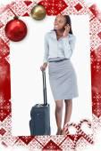 Linda mujer de negocios con una maleta — Foto de Stock