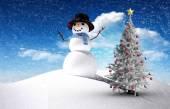 Sammansatt bild av julgran och snömannen — Stockfoto