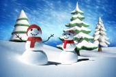 Composite image of snow man — Stock Photo
