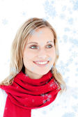 Captivating woman with a red scarf — Stock Photo