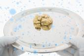 Composite image of golden nuggets on a silver tray — Foto de Stock