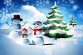 Imagen compuesta de la familia del hombre de nieve — Foto de Stock