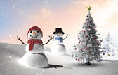 Composite image of christmas tree and snowmen — Stock Photo