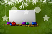 Composite image of poster with baubles — Foto de Stock