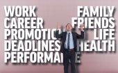Businessman gesturing against grey vignette — Stock Photo