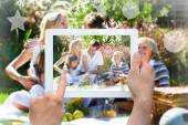 Family playing together in picnic — Stock Photo