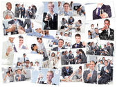 Business people drinking champagne — Stock Photo
