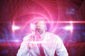 Focused businessman with magnifying glasses — Foto de Stock