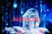Word password and fair-haired woman — Stock Photo