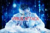 Word virus attack and mature businessman — Stock Photo