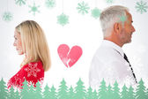 Couple not talking with broken heart between — Foto de Stock