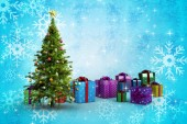 Composite image of christmas tree and presents — Foto de Stock