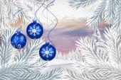 Composite image of digital hanging christmas bauble decoration  — Stok fotoğraf