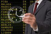Business person ritning vit klocka — Stockfoto