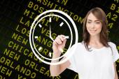 Business person drawing white clock — Stockfoto